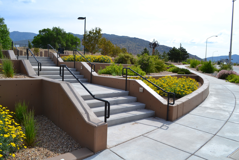 New concrete staircases welcome visitors