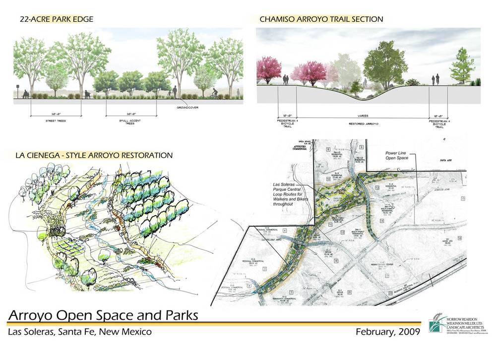 Sketches for development of arroyo open space and parks