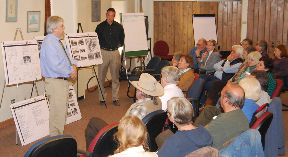 Baker Morrow of MRWM Landscape Architects presenting the plan for the Old Santa Fe Trail Building