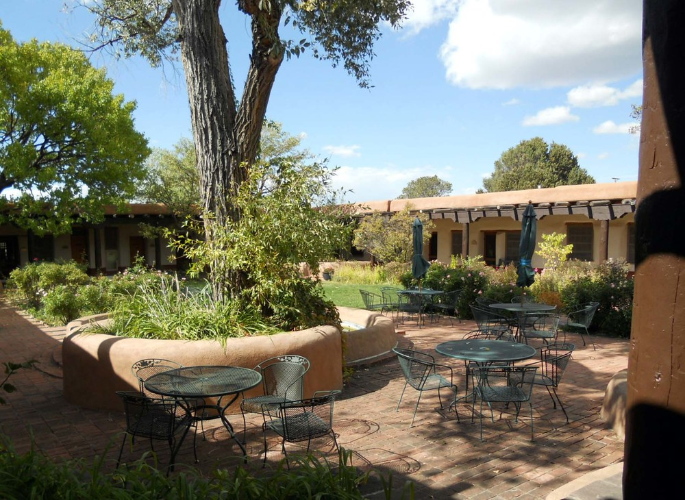 The courtyard seating area at the Old Santa Fe Trail Building