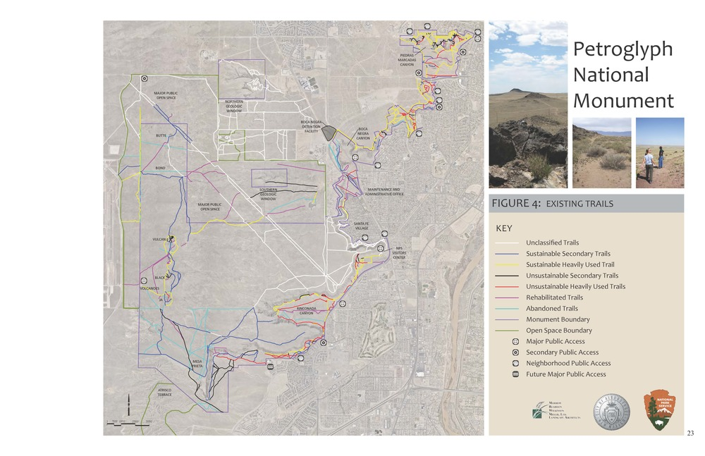 Petroglyph National Monument analysis of existing trails