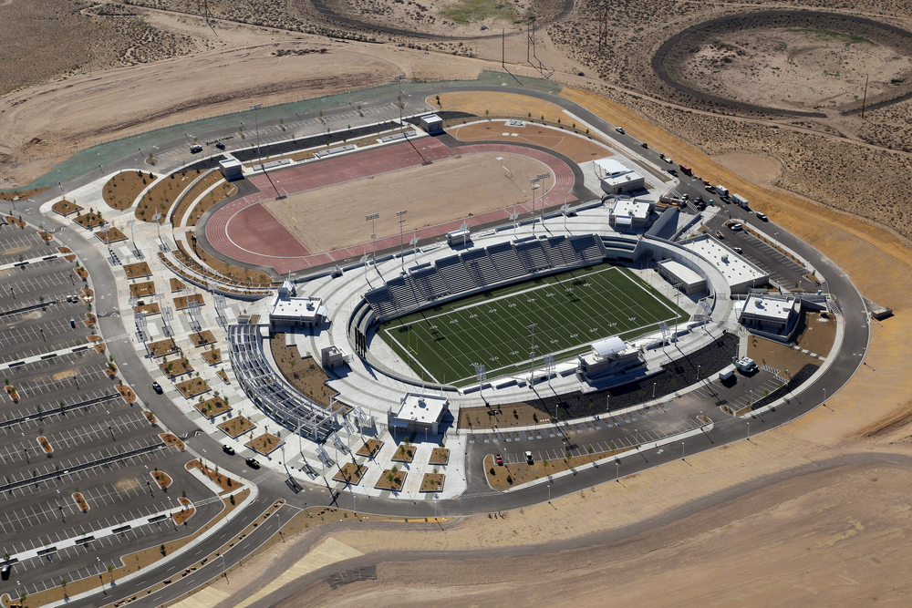 Aerial view of stadium complex