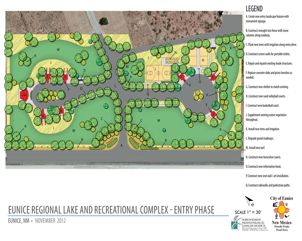 Eunice Regional Lake Recreation Complex design for entrance area