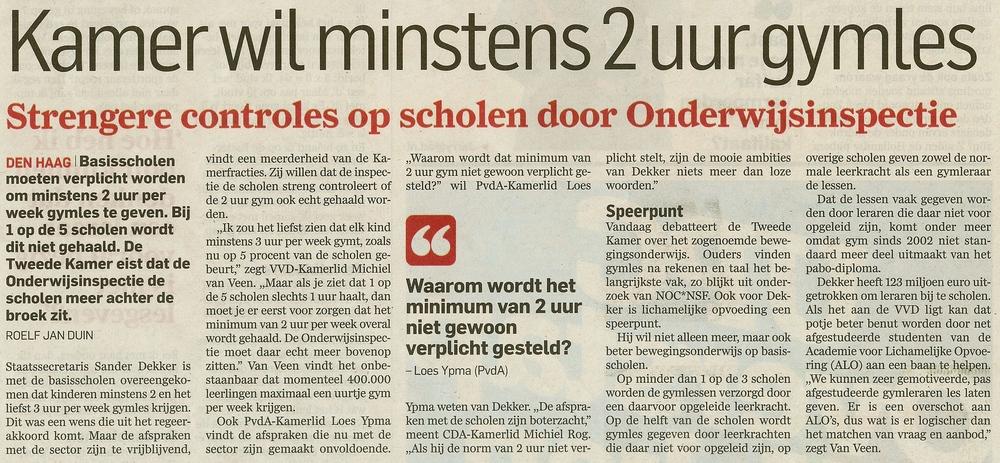 Woensdag 24 september in het AD (Algemeen Dagblad)
