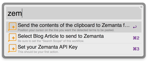 All keywords provided by the Zemanta Tagging Workflow