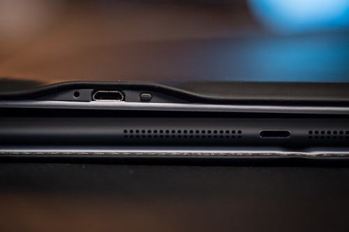 The charging port and iPad Lightning port