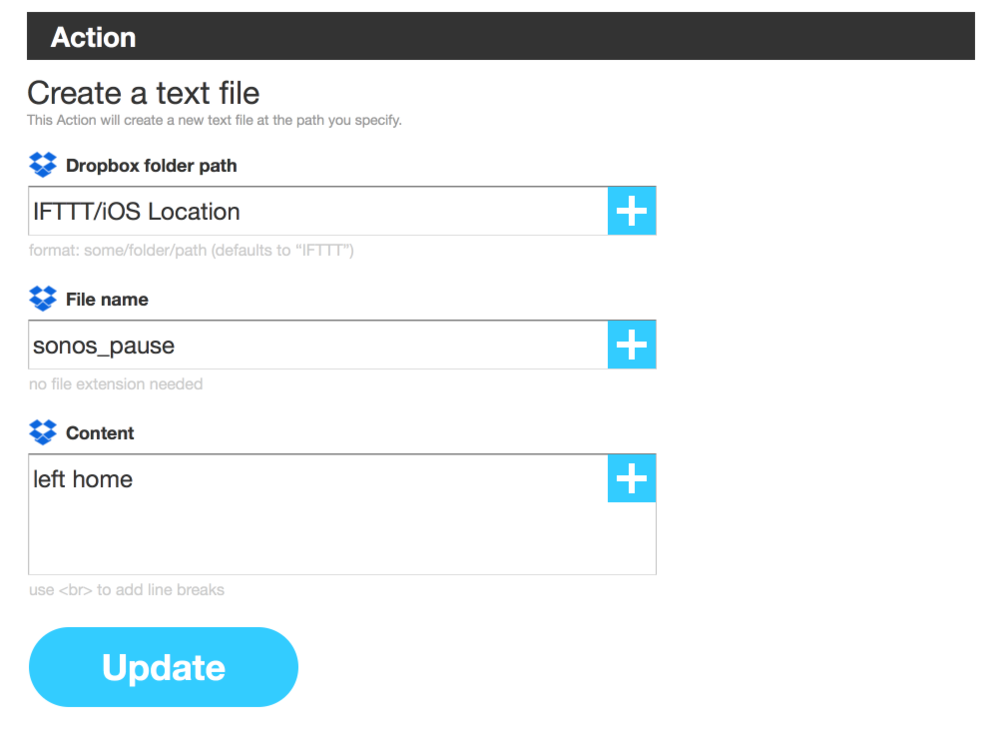 The IFTTT action