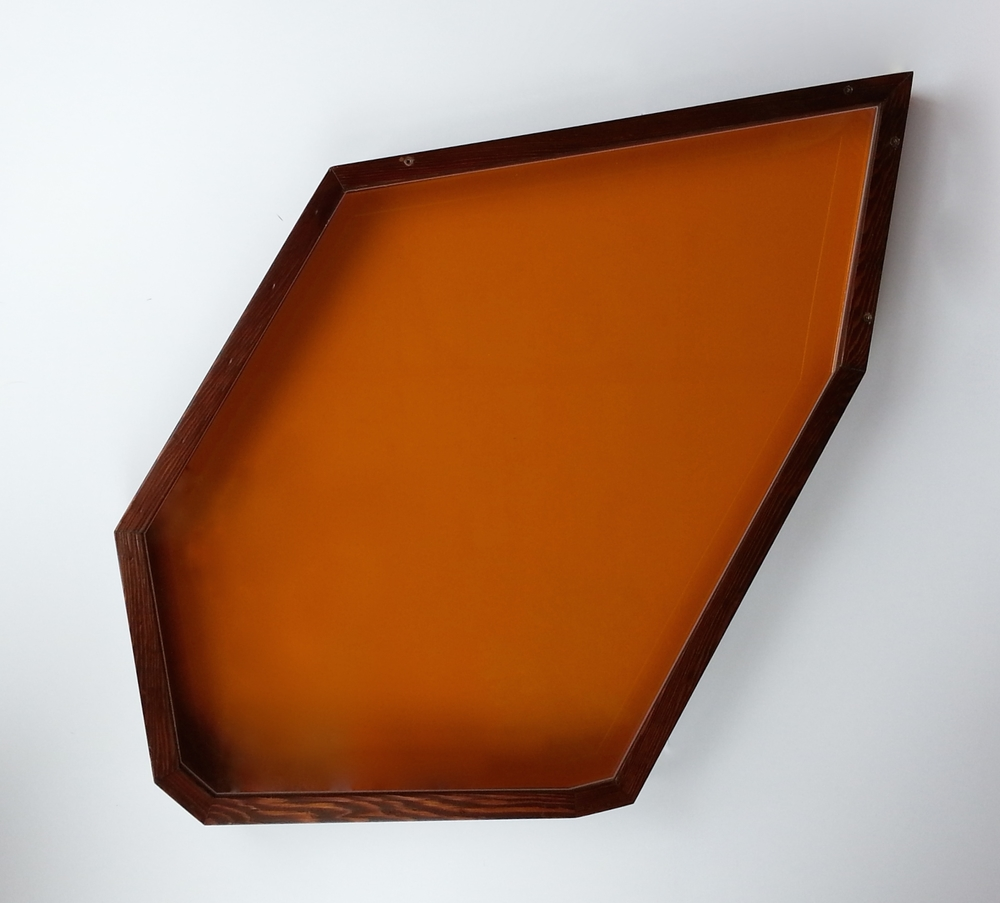 "A case for cutting , 2012, display case made with pigmented epoxy, cedar, plexiglas, 31"" x 20"" x 2"""
