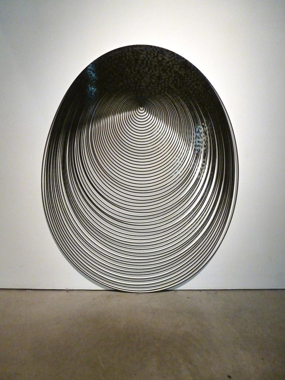 "Gravity Painting (Black Drop) , 2011, vinyl on PVC, 32"" x 32"" x .5"""