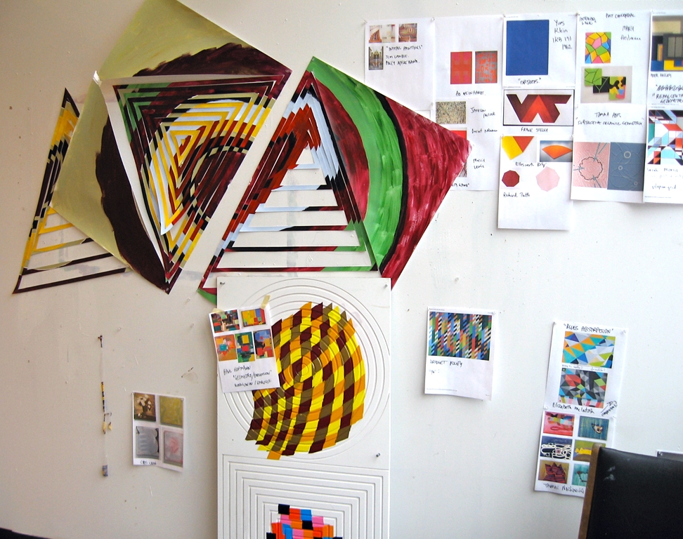Studio view of hand-cut paper studies and vinyl on PVC studies, 2011