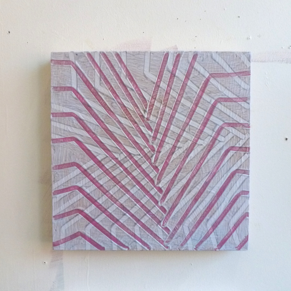 "Untitled, 2012, machine-drawn grooves into acrylic on board, 12"" x 12"""