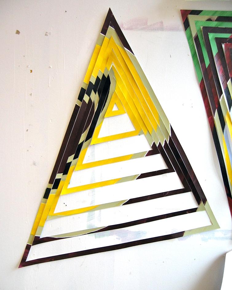 Studio view of acrylic on paper gravity study, 2011