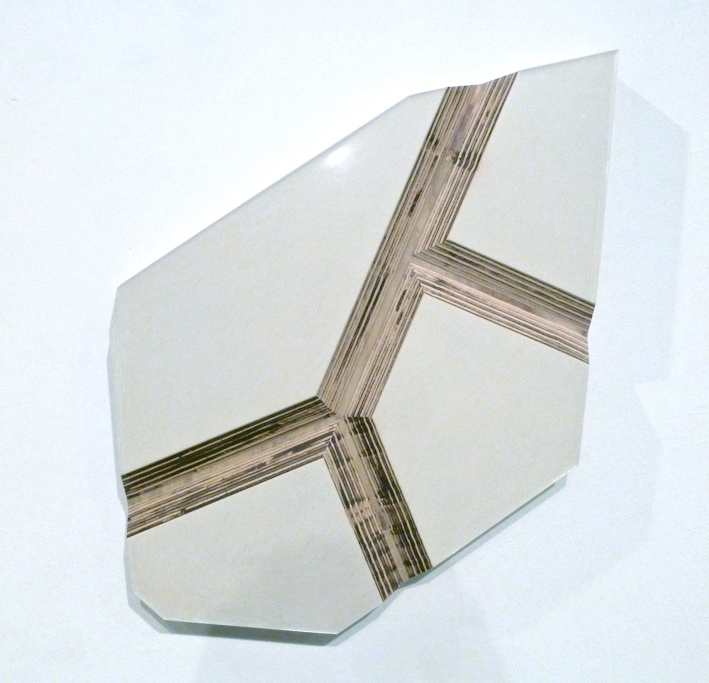 "White Stone , 2012, pigmented epoxy on routered plywood, 31"" x 20"" x 2"""