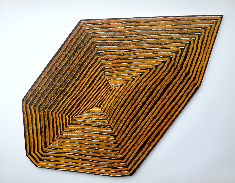 "Rough Stone (Yellow) , 2013, acrylic on routered MDF, 31"" x 20"" x .5"""