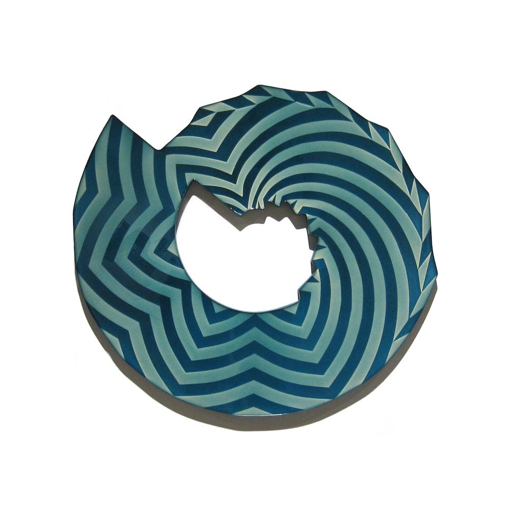 "Blue Washer , 2010, latex, epoxy, enamel, dry pigment on MDF,21"" x 23"" x1"""