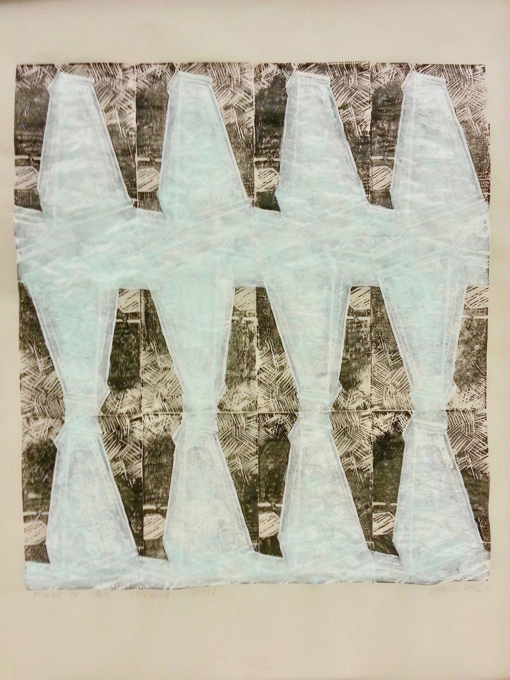 "Pillar of Salt, Goderich , 2018, acrylic ink woodblock and acrylic on vellum, 19"" x 24""."