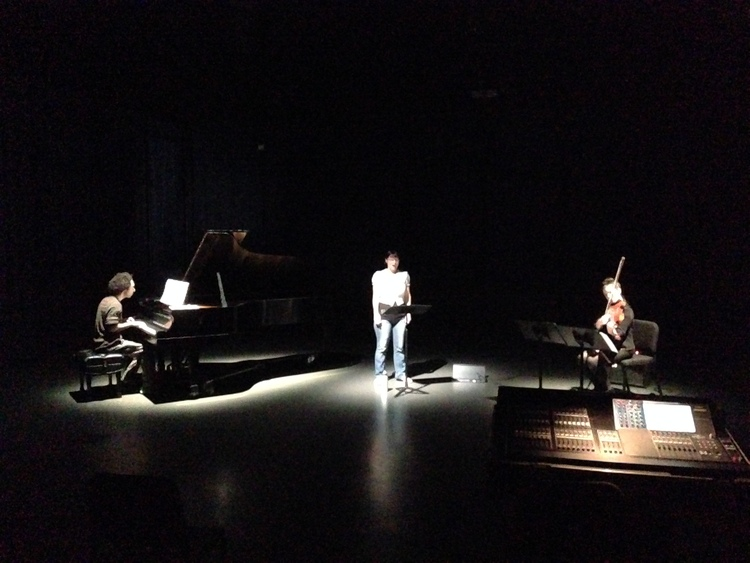 Josh Charney, Jessica Aszodi, and Amy Cimini rehearse  A Thin Line (A New Radio Opera) . (Photo: Jessica C. Flores)