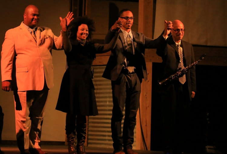 Abner Genece, Malesha Jesse, Gerard Joseph, and Kamau Kenyatta in  Invisible People (A Radio Opera)  at Space4Art, San Diego, September 27, 2013. (Photo: Yonatan Aljadeff)