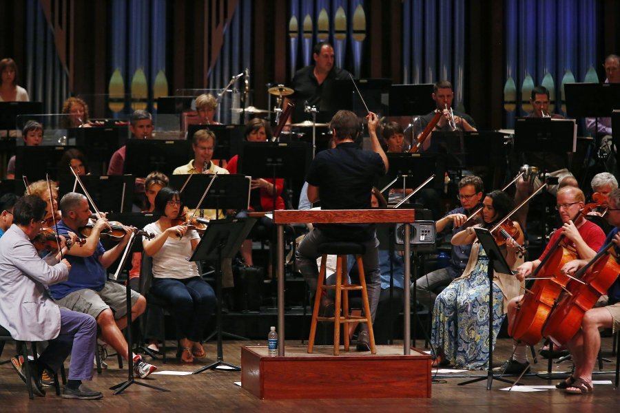 Yaniv Segal conducts the Naples Philharmonic during ACO EarShot JCOI Readings. (Photo: Corey Perrine, Naples Daily News)
