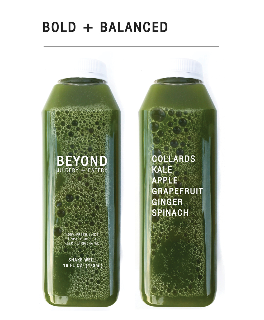 Drink to balance pH /  No need to drop the balancing act with this powerhouse of alkaline fruits and greens that supports your body's ability to maintain its ideal pH balance.  High in soluble fiber to promote digestive health and cancer-fighting carotenoids, this juice will keep you in check.    $9.00 (16oz)
