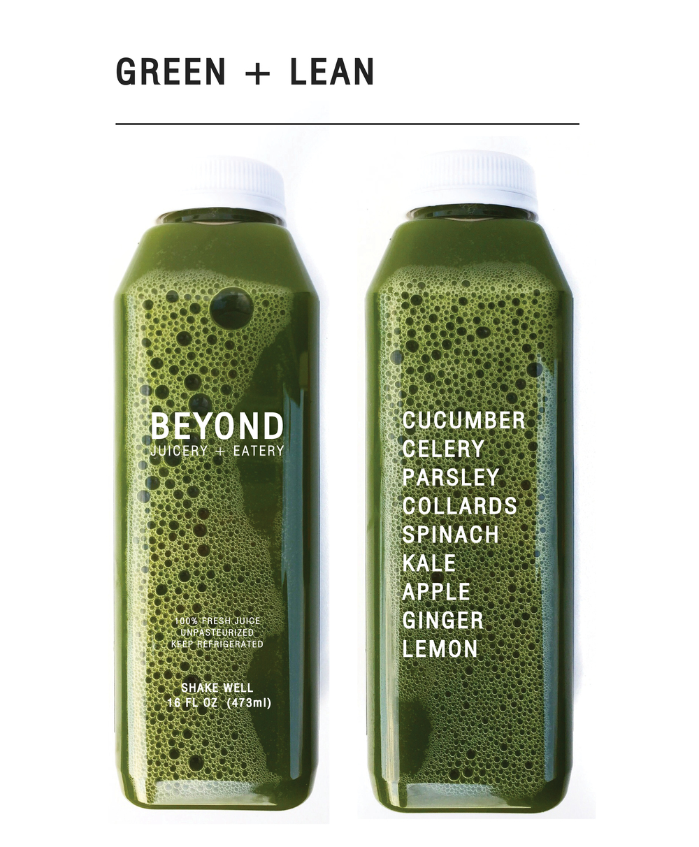Drink to keep lean / Get your daily dose of leafy greens by drinking this intense juice that is rich in vitamin K, vitamin C, iron, calcium and potassium, giving you the nutrients needed to feel fuller longer.  The diuretic properties of celery and parsley help to flush out toxins and excess water weight. $9.00 (16oz)