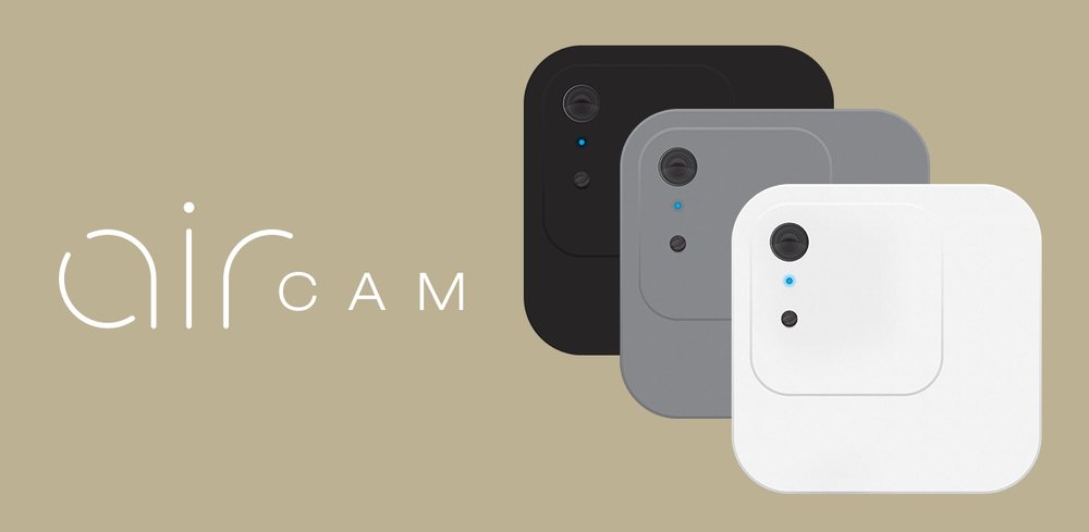 Product design project for Air Cam, a small wirelessly charged video camera that streams video to your smart phone.