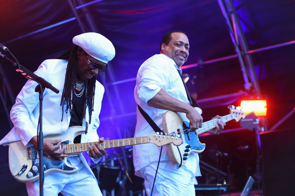 Chic performs on stage at the Fold Festival 2016 with Niles Rogers in Fulham Palace.