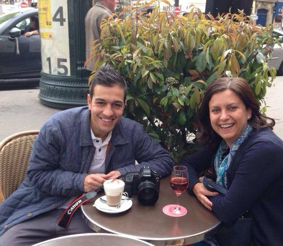Goncalo grabs a drink with Ana after the shoot in Paris.