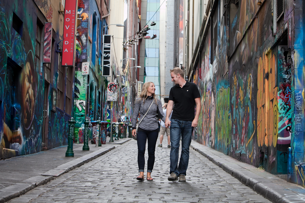 Canadian honeymooners Sarah & Bryan stroll down Hosier Lane