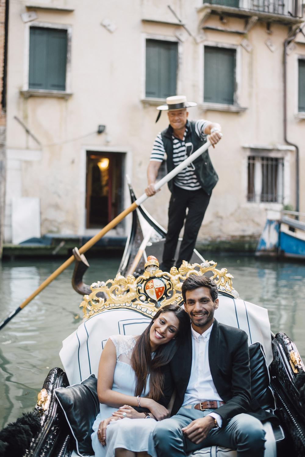 Romantic gondola ride down the canals of Venice