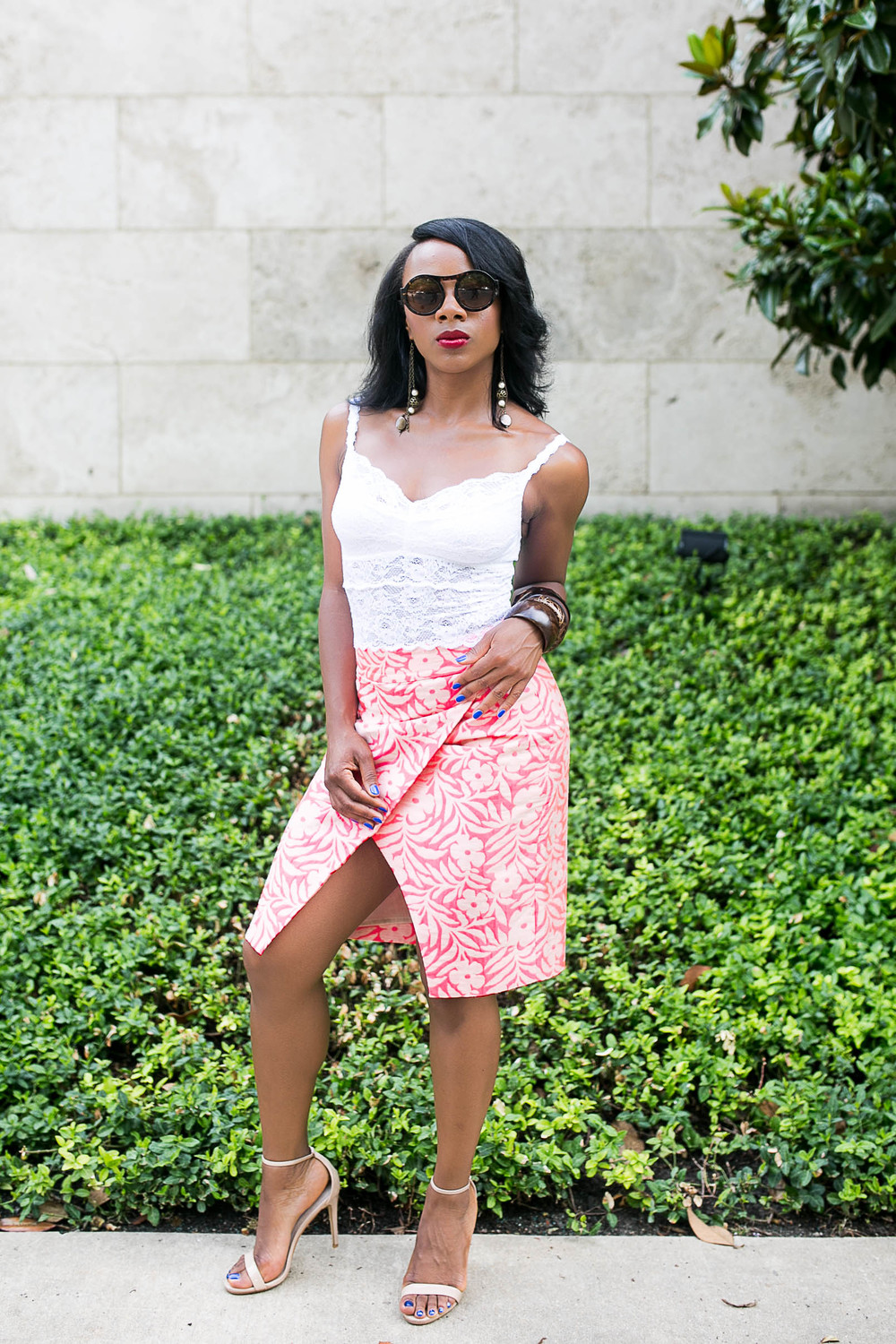 fashion blogger featuring bright colours and a statement skirt