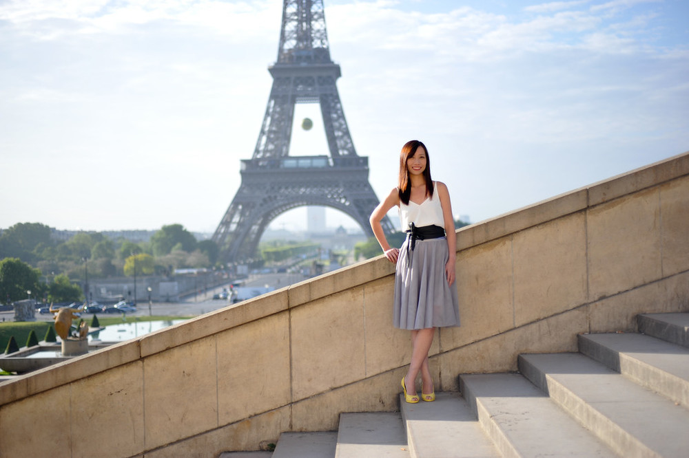 Stylish girl in Paris