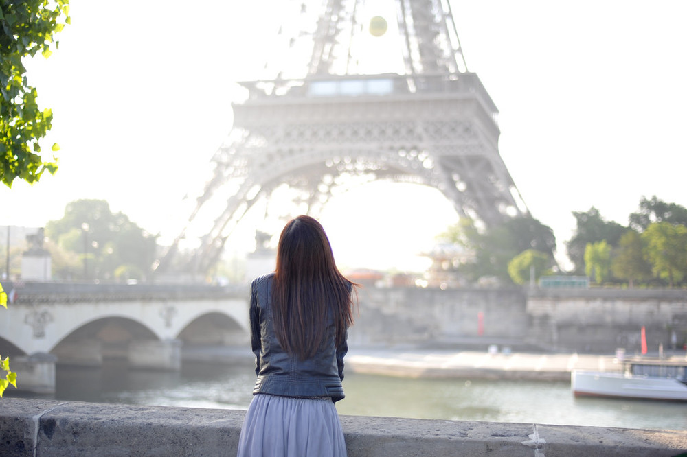 Girl in Paris with Eiffel Tower