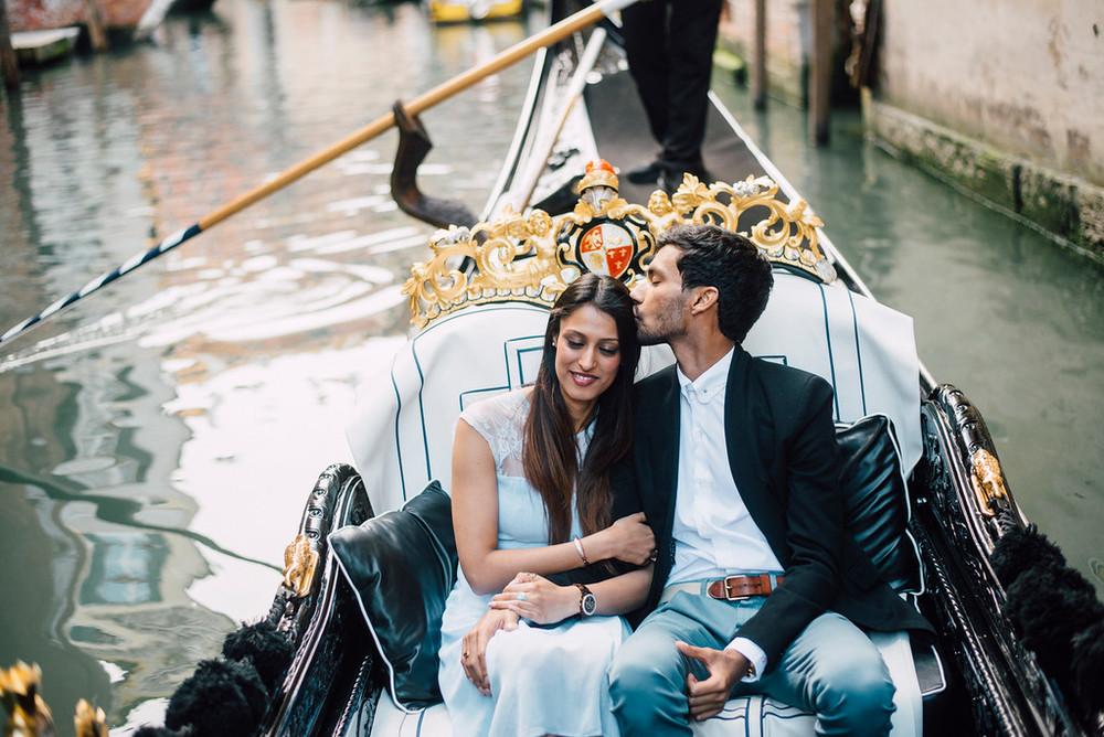 couple on romantic gondola in Venice