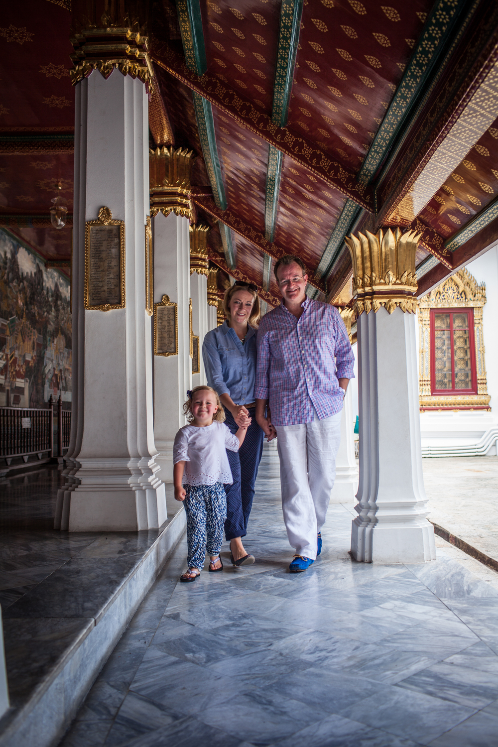 family in Grand Palace in Bangkok, Thailand