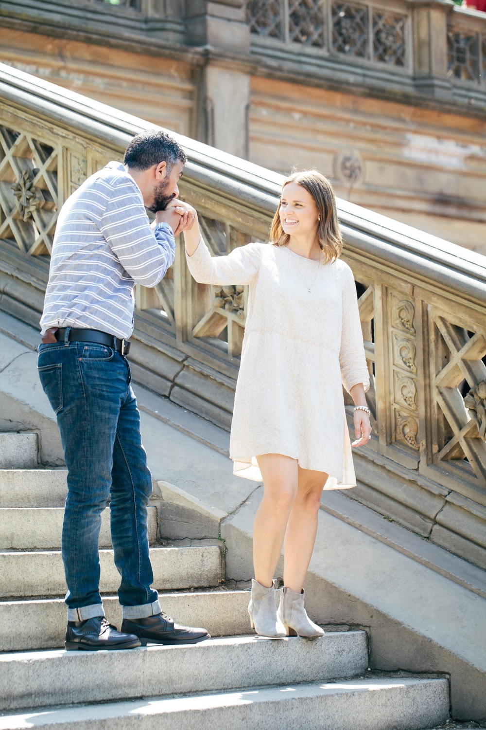 couple exploring central park after engagement