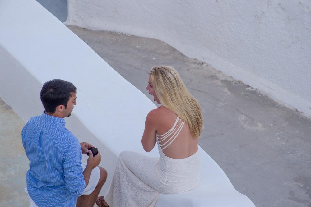 Surprise Proposal in Santorini Flytographer