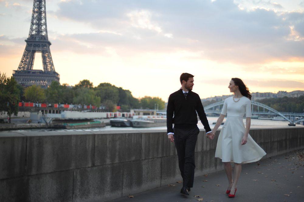 Romantic Paris Eiffel Tower Engagement Flytographer