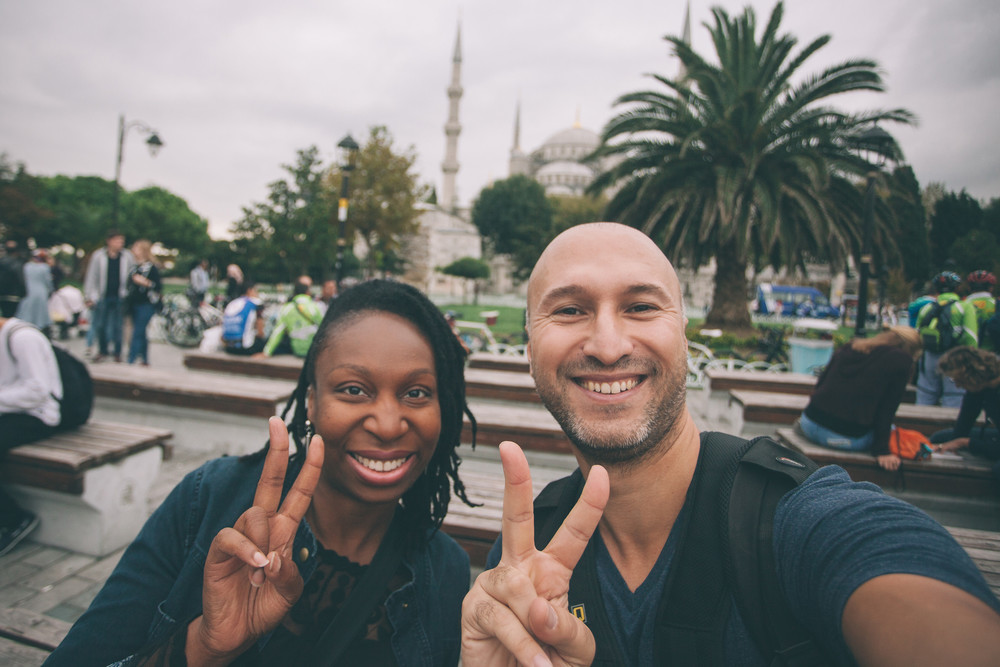 Big smiles post-shoot with Lonette and Flytographer Ufuk in Istanbul.