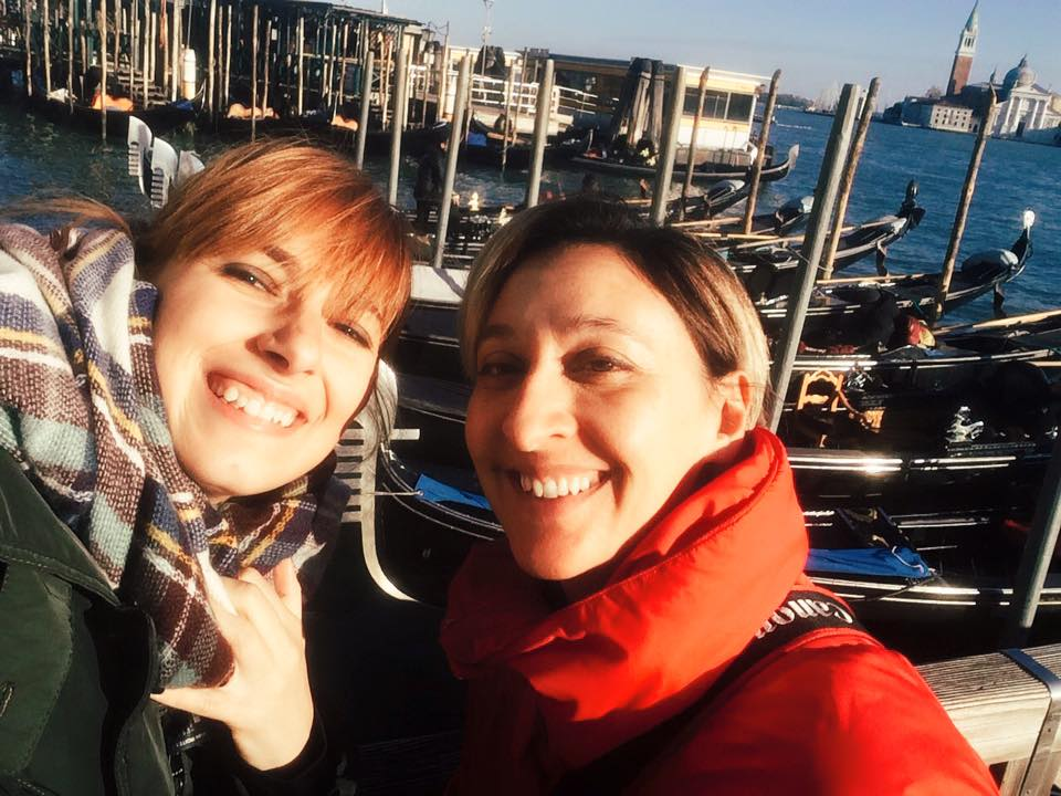 Emma in Florence (right) met Serena in Venice (left) and snapped a fun selfie.