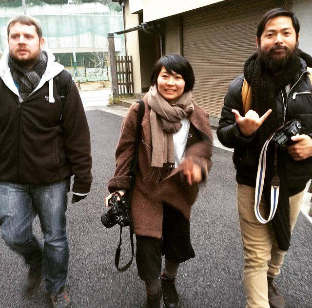 Trevor in Honolulu (right) met Izumi (centre) & Waki (not shown) for a fun photowalk around Tokyo.
