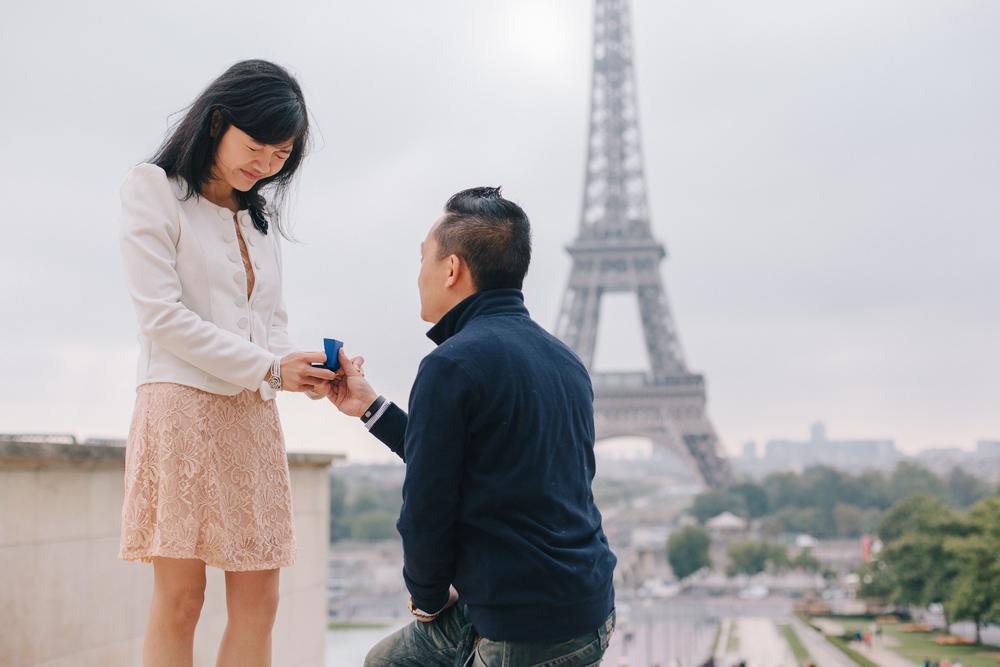 Surprise Proposal on Trocadero in Paris | Paris Proposal Photographer