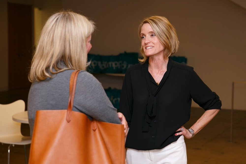 Flytographer CEO Nicole Smith (left) chats with The Knot founder Carley Roney at the NYC book launch.