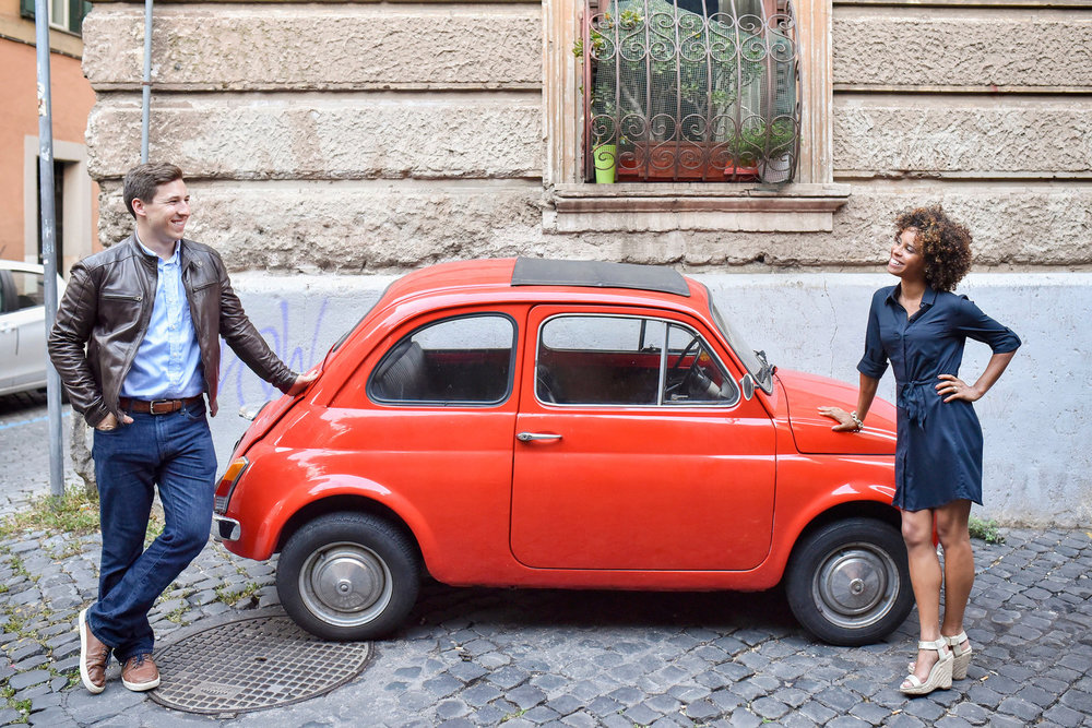 Flytographer:  Roberta in Rome  (Blog post  here )   Using this red car was a fun way to add some colour and interest to this shot.