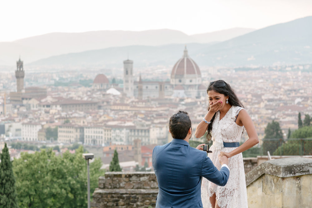 florence surprise proposal photographer flytographer