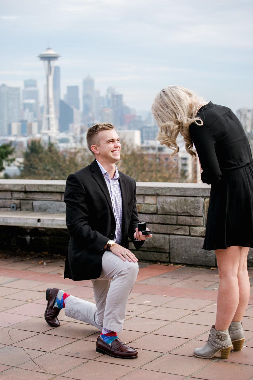 surprise proposal photographer seattle flytographer