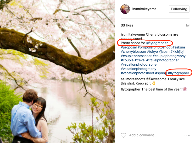 Izumi in Tokyo's IG post crediting and tagging Flytographer, including hashtag. Click image to enlarge.
