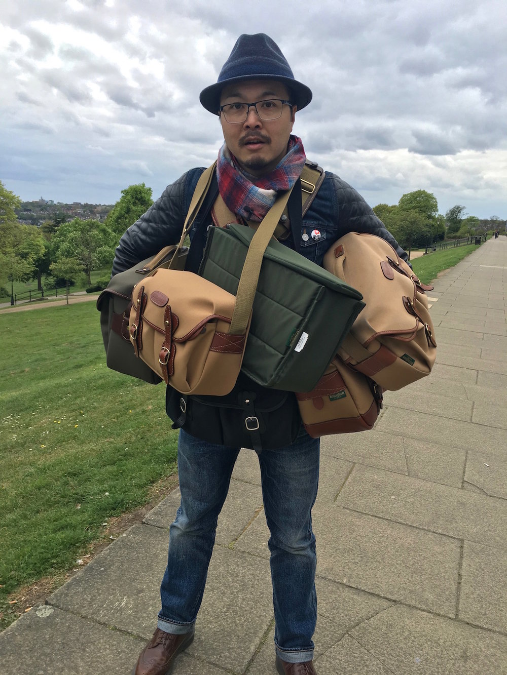 Jimmy with a few of his favourite Billingham bags!