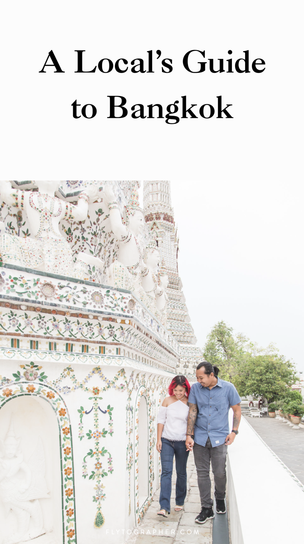 Get Flytographer's local tips on what to eat, see and do in beautiful Bangkok! | Travel + Vacation Photographer | Family Vacations | Engagement Proposals | Honeymoons | Anniversary Gifts | Bachelorette Ideas | Solo Traveller Tips |  Flytographer captures your travel memories - everything from surprise proposals, honeymoons, family vacations, and more. Our photographers also act as informal tour guides and provide fun local tips to our customers, showing them an area of a city they may not have explored without Flytographer. Book your photographer at 1.888.211.7178 or visit our website at www.flytographer.com/book