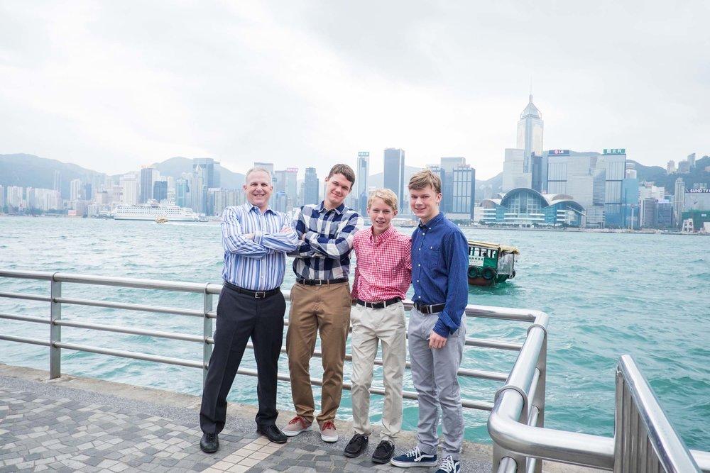 The Barrett family in Hong Kong Flytographer Keith